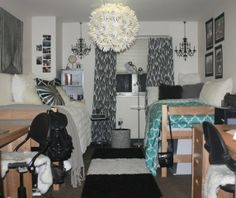 Classy dorm room! My heart loves this!! Looks like the dorm my roommate and I are going to share this coming year, the size and layout