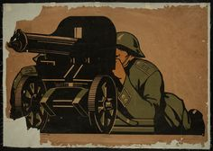 Artillery soldier  Lithograph, 72 cm x 103.5 cm, 1931, Dr. Harry Bakwin and Dr. Ruth Morris Bakwin Soviet Posters Collection, Special Collections Research Center, The University of Chicago Library