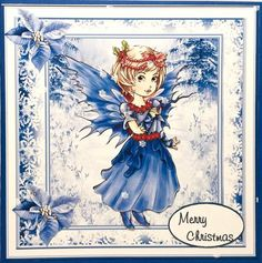 Christmas fairy mini kit on Craftsuprint designed by Cynthia Berridge - made by Elena Pavlova - Printed on matte photo paper, I cut out all of the elements and decoupaged using light foam pads, I then mounted the image and the insert onto the card.  - Now available for download!