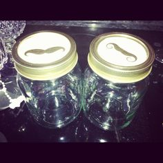 Mustache mason jars for the guys