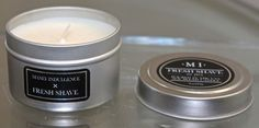 MANLY INDULGENCE FRESH SHAVE CANDLE 1 WICK 3OZ TIN NEW SOY BLEND HAND POURED  | eBay