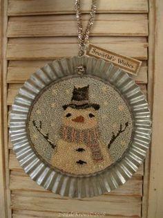 Snowflake Wishes- Primitive Original Christmas Snowman Punch Needle Hanger OOAK #NaivePrimitive
