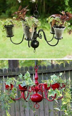 24 Creative Garden Container Ideas | Chandelier planters!