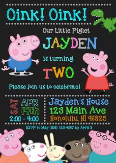 Peppa Pig Birthday Invitations, Peppa Pig Invitation, Boy George Pig Peppa Pig Party Invites, Personalized Printable Invitation Personalized Invitation - Guarantee to send the first proof within 24 hours ⭐️ Rush service is available for additional $5