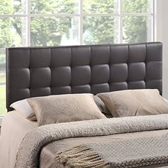 Modern Contemporary King Size Vinyl Headboard, Brown Faux Leather Searching bedroom decor photos...  http://aluxurybed.com/product/modern-contemporary-king-size-vinyl-headboard-brown-faux-leather/