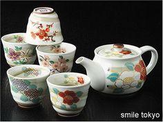 Japanese Arita ware Tea Pot and 5 Cups set Seasonal Flower Handmade in Japan