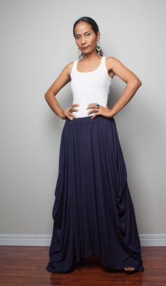 Floor length Skirt   Long Navy Blue Skirt  Autumn by Nuichan, $52.00