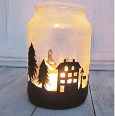 Christmas Town DIY Jar Candle | Great for the mantel!
