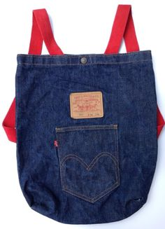 RARE VINTAGE 70'S LEVI'S BLUE DENIM JEANS TOTE BAG BACKPACK 501 NOW!   #Levis #Backpack