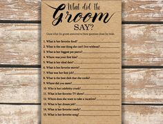 What Did the Groom Say About His Bride Game . Fun Bridal Shower Games, Unique Bridal Shower, First Kiss, Wedding Planning, Wedding Ideas, Wedding Pics, Farm Wedding, Wedding Stuff, Wedding Venues