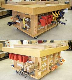 Assembly table with clamp storage below