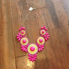 Deco statement piece Hot pink deco statement necklace. Great for a simple black/white dress. Great with tank top and jeans. Brand new with tag. Francesca's Collections Jewelry