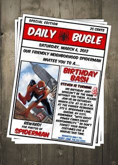 Spiderman invitation 5x7Spiderman birthday party by MiBellaDesigns, $12.00