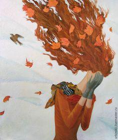 Купить Осень плачет - рыжий, осень, девушка, женщина, платок, перчатки, листья, осенние листья