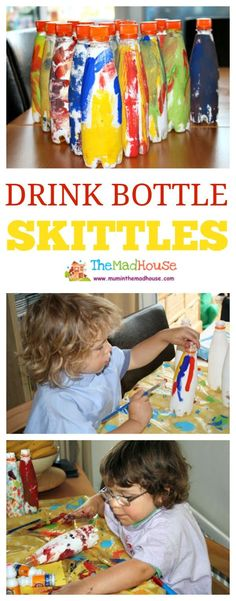 Drink bottle skittles.  This is such a fun kids craft using recyclables. Children love junk modding and you can play with these after making it a great kids craft activity