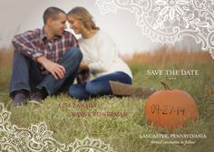 pumpkin and lace save the date postcard // fall wedding ideas.  Design:  Minted.com