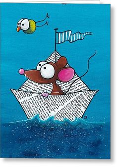 Mouse In His Paper Boat Greeting Card by Lucia Stewart Art Drawings For Kids, Cartoon Drawings, Art For Kids, Watercolor Sketchbook, Watercolor Cards, Farm Cartoon, Happy Paintings, Whimsical Art, Acrylic Painting Canvas