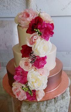Calumet Bakery  White/Rose Gold Buttercream Wedding Cake