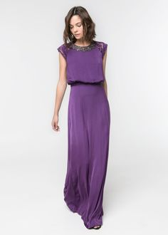 Mango -  Gown with beads on the neck crafted in a flowy fabric. Floral lace on sleeves and waist, keyhole detail at back and inner lining. $169.99