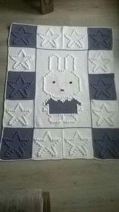 Hearts and Bows Blanket ~ Patt Bobble Stitch Crochet, Baby Afghan Crochet, Manta Crochet, Crochet Squares, Crochet Stitches Patterns, Stitch Patterns, Knitting Patterns, Colchas Quilt, Baby Knitting