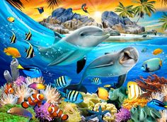 Fototapete Delphine m x 312 cm East Urban Home Dolphin Art, Underwater Art, Wale, Delphine, Cross Stitch Kits, Animal Party, Sea Creatures, Wall Murals, Cute Animals