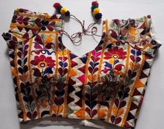 Buy Hand Embroidered Kutch Work Blouse Choli Blouse Design, Sari Blouse Designs, Blouse Patterns, Blouse Styles, Indian Attire, Indian Outfits, Saree Jewellery, Kutch Work, Indian Blouse