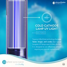 Its not enough to just filter out bacteria and viruses. The next step is to use UV Sterilization to be able to make sure that these micro-organisms do not have the chance to multiply while being stuck inside the water filters. Dead bacteria and viruses pose no threat anymore whatsoever regardless if they are ingested.  Cold Cathode UV Lamps are different that it does not heat up, so the usage of these type of lamps almost no need for replacement for their lifetime. Safe Drinking Water, Water Containers, Water Filters, Microorganisms, How To Run Faster, Own Home, Healthy Drinks, Ultra Violet, Lamps