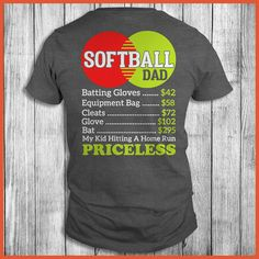 Softball Dad My Kid Hitting A Home Run Priceless Shirt