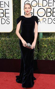 Teresa Palmer from 2017 Golden Globes Red Carpet Arrivals  In Armani Privé