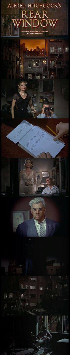 Rear Window(1954) Directed by Alfred Hitchcock.