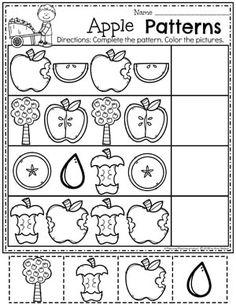 Preschool Apple Worksheets - Apple Patterns #preschool #preschoolworksheets #appletheme #appleworksheets #planningplaytime #patterns Preschool Apple Theme, Fall Preschool Activities, Homeschool Kindergarten, Preschool Lessons, Preschool Classroom, Kindergarten Worksheets, Daycare Curriculum, Preschool Apples, Vocabulary Activities