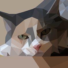 'polygon art cat' by polyart Polygon Pattern, Polygon Art, Geometric Drawing, Geometric Art, Triangle Art, Cool Art Drawings, Barn Quilts, Cat Art, Collage Art