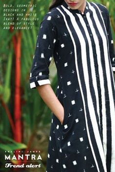 Mantra Trend Alert! Bold, geometric designs in black and white #ikat ! A fabulous blend of style and elegance! #shalinijamesmantra #theYinandYangofIkat