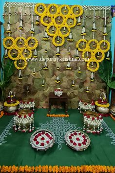 Flower Decoration For Ganpati, Ganpati Decoration Design, Flower Decorations, Desi Wedding Decor, Outdoor Wedding Decorations, Wedding Stage, Ceremony Decorations, Diy 30th Birthday Decorations, Mehendi Decor Ideas