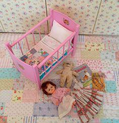 Stunning Vintage Dolls Crib Cot with Handmade by HenHouseHomemade