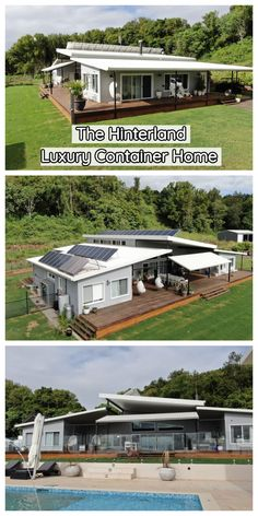The Hinterland container home is of absolute luxury. It is built from 7 containers laid in such a way that the total inside floor plan of the house is the equivalent to 12 containers Build your own shipping container home! 40ft Container, Shipping Container Home Designs, Cargo Container Homes, Building A Container Home, Shipping Container House Plans, Container Buildings, Storage Container Homes, Container Architecture, Container House Design
