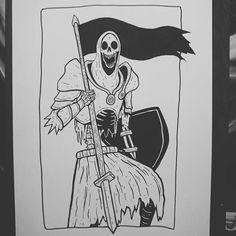 Join the crusade by baileyillustration Blackwork, Matt Bailey, Dark Drawings, Skeleton Art, Dark Tattoo, Skull Art, Dark Art, New Art, Sleeve Tattoos