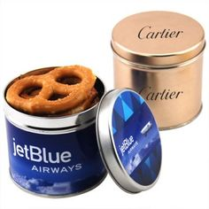 Logo Imprinted Round Tin Filled with Mini Pretzels: Available Flavor: Pretzels. Product Size: 3 H x 3 D. Imprint Area: Lid: 3 D, Body: 2 H x 10 D. Imprint Location: First: Body, Second: Lid. Dog Bowls, Tin, Tasty, Make It Yourself, Food, Design, Pewter, Essen, Eten