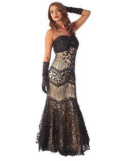 Art Deco Black Tulle over Gold Satin Mermaid Evening Gown #Vintage #Style #BlueVelvetVintage