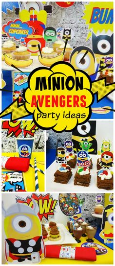 This fun party combines both Minions and Avengers! See more party ideas at CatchMyParty.com!