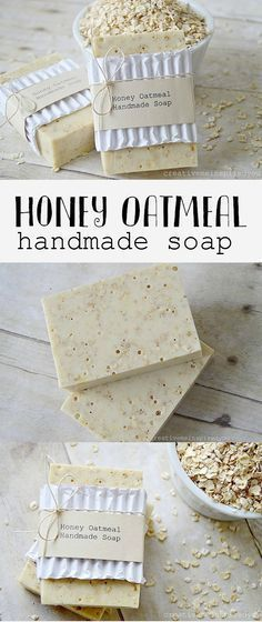 DIY Honey Oatmeal Soap Recipe from Creative Me Inspired You.Make this 3 ingredient DIY Oatmeal Honey Soap using a goats' milk soap base, oatmeal, and honey. Because you are using a melt and pour soap, this is a very easy DIY. For homemade soaps like. Homemade Soap Recipes, Homemade Gifts, Homemade Soap For Kids, Diy Soap Recipe Without Lye, Diy Gifts Mom, Home Made Soap Without Lye, Diy Soap Bars Without Lye, Making Soap Without Lye, Dit Gifts