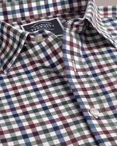 c21071596228fe Slim fit brown multi block gingham brushed check shirt. Charles TyrwhittCheck  ...