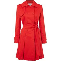Helene Berman Full skirted trench coat (27.965 HUF) ❤ liked on Polyvore featuring outerwear, coats, lullabies, red, clearance, red trench coat, helene berman, red coat, waterproof coat and full skirt trench coat