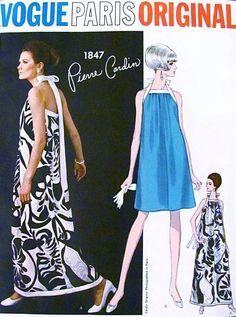 1960s RARE Mod Pierre Cardin Evening Cocktail Dress Pattern Vogue Paris Original 1847 Halter Neckline Gown or Short Length Bust  31 Vintage Sewing Pattern