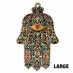 Magnificent Black & gold toned large wall hamsa adorned w/ multibright swarovski crystals, handmade at Michal Golan studios, USA