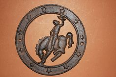 (1), CAST IRON, CUT OUT CIRCLE, COUNTRY DECOR, HORSES, RANCH DECOR, COWBOYS,