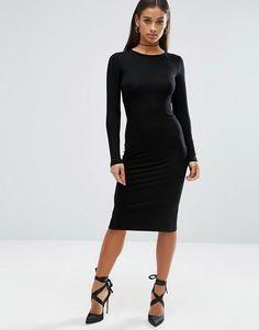 ASOS Petite   ASOS PETITE Long Sleeve Bodycon Midi Dress
