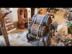 barril belen - YouTube Cannon, Diorama, Firewood, Crates, Youtube, Barrels, Christmas, Game, Christmas Manger