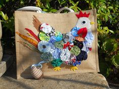 Yo Yo Quilting Chicken Shoppiong bag made by eccolamyecofamily, $45.00