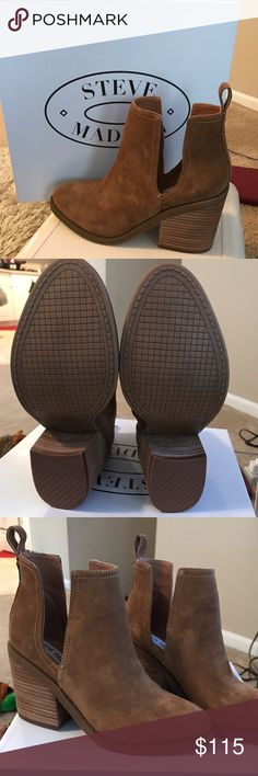 Steve madden booties Brand-new cognac suede booties with cut outs on the side. Extremely comfortable 2 inch chunky heel Steve Madden Shoes Ankle Boots & Booties